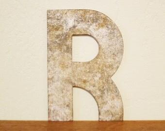 Vintage Industrial Metal Letter - R