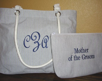 Personalized Mother of the Groom Tote Bag and Cosmetic Bag Gift Set **SALE** also for Bridesmaids