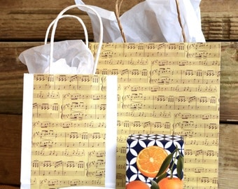 Large Music Gift Bag with Handles, vintage style