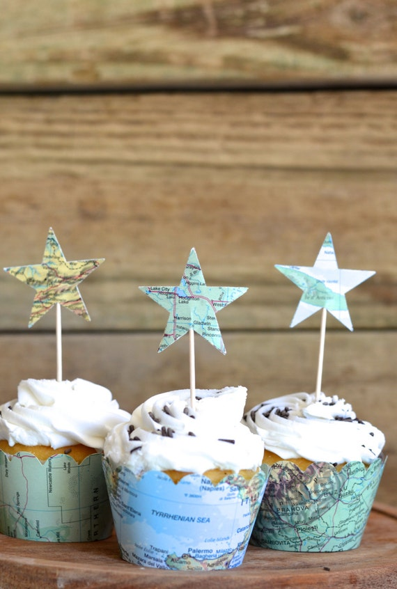 Vintage Map Star Cupcake Toppers