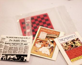 Dollhouse Miniature Magazine Newspaper Checkers Game