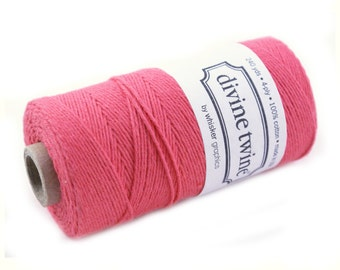 SOLID Bakers Twine - CORAL PINK twine - string for crafting, gift wrapping, packaging, invitations - 240 yards