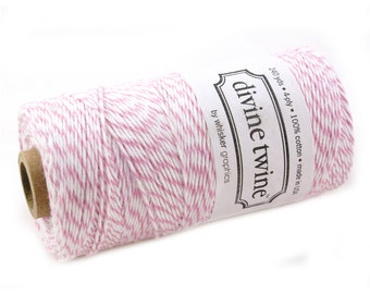 Bakers Twine 240 yard spool - COTTON CANDY PINK & White Bakers Twine String for crafting, gift wrapping, packaging, invitations