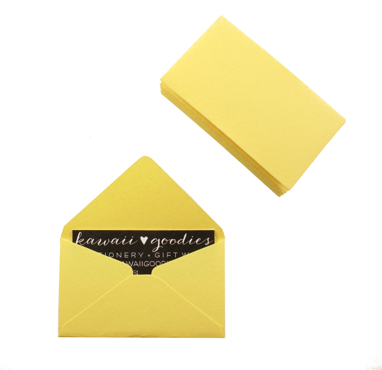 Business card envelopes 25 lemon yellow envelopes 2 1 8 x