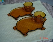 Vintage Amber Glass by Indiana Glass Piggy Dish and Matching Cups - Sweet