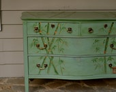 Hand Painted Bamboo Chest of drawers
