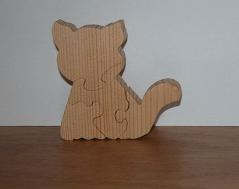 Child's Toy Cat Puzzle - Animal Puzzle - Child's Decor - Kid's Toy - Kitty Puzzle
