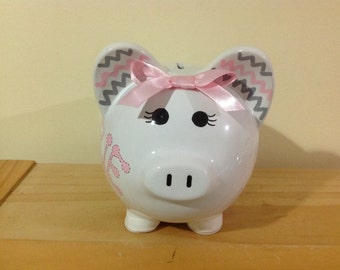 Personalized Large  Piggy  Bank Polka Dots and chevron pink and grey  - Baby Showers Christenings, Birthdays, 1st Communion