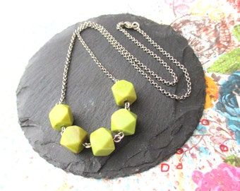 Geometric Nugget Necklace, Boho Necklace, Gemstone Necklace, Lime Green Chalk Turquoise Necklace, Beaded Necklace, Simple Necklace, Handmade