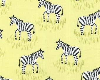 SALE *** Mini Zebras in Citron - 1 yard - Michael Miller Fabric