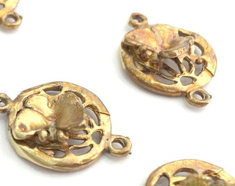 2 Raw Brass Butterfly Charms 18x13 mm G3393