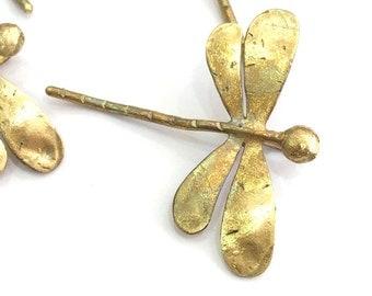 Raw Brass Dragonfly Pendant 42x40mm G3405