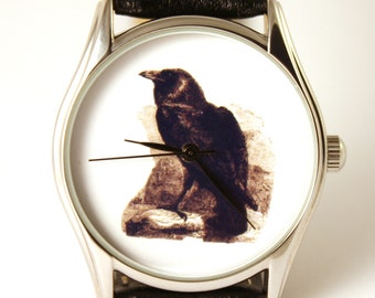 Watch Raven, mens watch, bird watch,