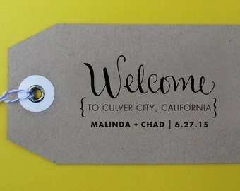 Welcome Wedding Stamp, Handwritten Calligraphy - Personalized Stamp for welcome bag, wedding favors, gift tags - Version N