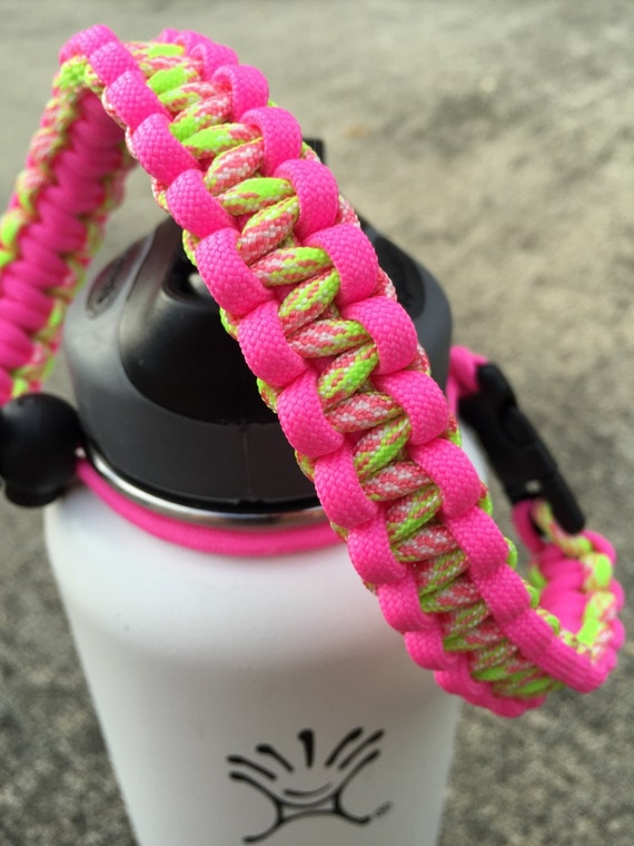 Paracord handle for hydro flask bottle pink amp yellow cobra knot