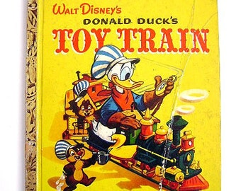 """Little Golden Book First Addition """"Walt Disney's Donald Duck's Toy Train"""" #D18"""