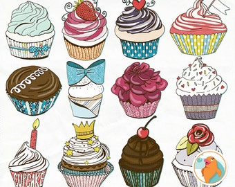 Birthday Cupcake Clip Art, Happy Birthday ClipArt, Chocolate Cake, Party Digital Graphics, Vinyl Print and Cut Image, Stickers