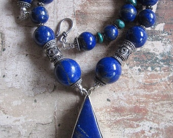Triangle of the Sea -- AA Lapis Lazuli genuine- Sterling bali beads- Turquoise Necklace- Statement Necklace