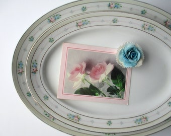 Vintage Meito China Pink Blue Rose Serving Platters Set of Two