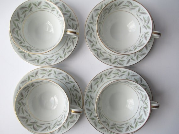 Vintage Teacups and Saucers Noritake Carole Set of Four