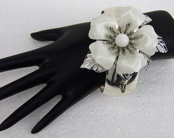 Vintage Large White Silver Corsage Brooch Bangle Cuff Bracelet Upcycled Recycled Repurposed Collage Bride Bridesmaid Wedding ATCTTEAM Prom
