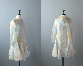 Vintage chiffon dress. 1960s pastel dress with ostrich-feather stole