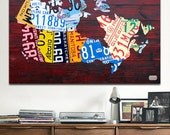 License Plate Map of Canada Recycled Art Metal PRINT
