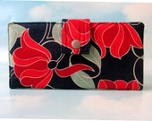 Handmade wallet navy with bold red floral - Women's Bifold wallet - Custom order
