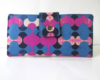 CLEARANCE - Handmade women's wallet Modern look in Magenta and blue - ID clear pocket - ready to ship  - Casual look - gift for her