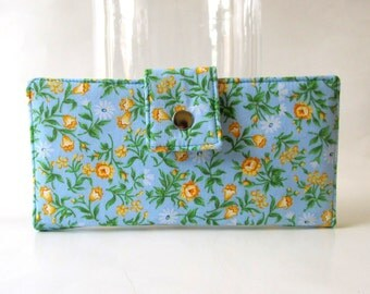 CLEARANCE - Handmade women's wallet clutch Light blue with small yellow flowers - ID clear pocket - ready to ship - Cottage - Spring blossom