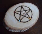 RESERVED for Taylor Cherry - Natural Wood Slice Pentacle Plaque with Stones