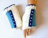 Hand Knit Gloves, Knitted women Mitten, White And Blue Fingerless Gloves, Arm Warmer,Winter Accessories,Half Finger