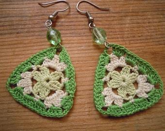 triangular crochet earrings, green