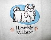 I Love my Maltese embroidered hand towel