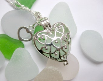 Sea Glass Locket - Heart Sea Glass Pendant Sea Glass Necklace Seaglass Jewelry Beach Glass Jewelry Handmade, Custom Jewelry