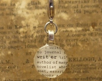 Writer Dictionary Word Clip-on Charm Antique Vintage Look Gift by Kristin Victoria Designs