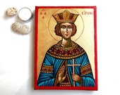 Saint Irene icon, Saint Irina, Hagia Eirini, handpainted original icon on canvas, 10 by 8 inches