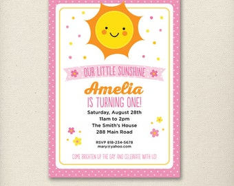 Custom Sunshine Birthday Invite Pink Orange and Yellow - Personalized Printable Digital Invitation - Personal Use Only