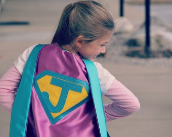 NEW Sparkle Personalized Girl SUPERHERO CAPE - Fast Delivery - Customize with your child's initial - Kid Costume - Girl Superhero Party