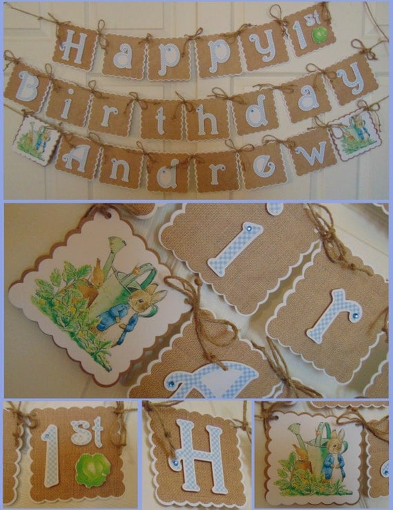 Perfect Peter Rabbit Birthday Banner with name and age Beatrix Potter  HS39