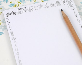 Doodle Note Pad - Black and White - Eco-Friendly Stationery
