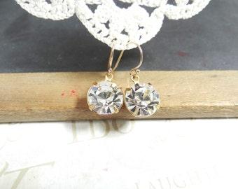 CIRCLE round rhinestone heart dangle earrings in gold B16   sensitive ears   nickel free   girls night out   date night   sparkle   dainty