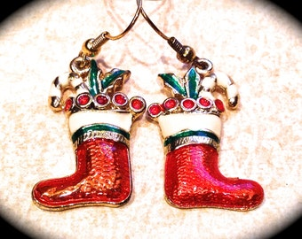 Fun santa boot  earrings- Christmas earrings- Holiday Earrings- Santa Claus Jewelry- Boots - Gifts under 10- Gifts for Girls Teachers Her