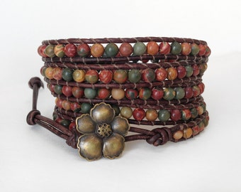 Picasso Jasper 5X Beaded Leather Wrap Bracelet, Five Wrap Picasso Jasper bracelet with bronze Hibiscus flower