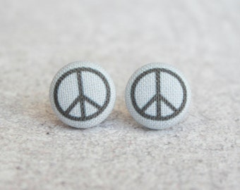 Peace Sign Fabric Button Earrings