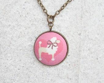 Pink Poodle, Fabric Button Pendant Necklace