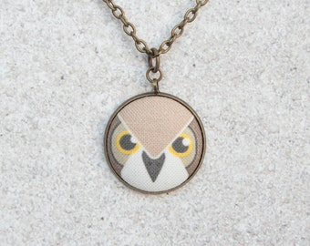 Owl, Fabric Button Pendant Necklace