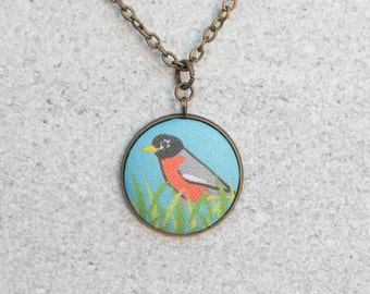 Robin, Fabric Button Pendant Necklace