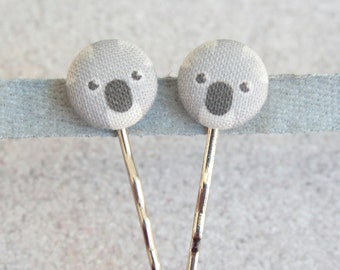 Koala Fabric Covered Button Bobby Pin Pair