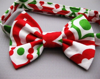 Toddler boy Christmas bow tie red and green bow tie baby bowtie First Christmas Velcro bow tie - Merry, Merry
